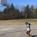 Student about to shoot a basketball