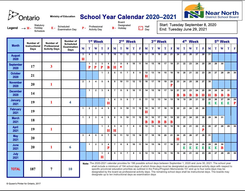 School Year Calendar 2020-2021