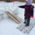 Primary Students playing in the snow. Staying active in the winter