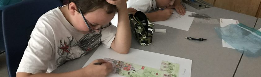 Student drawing picture