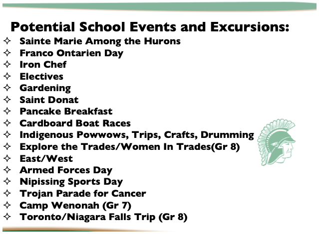 Potential school events and excursions