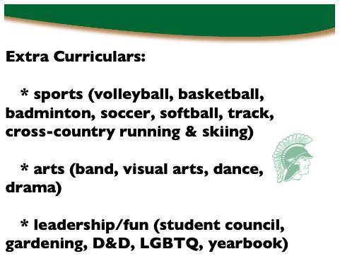 Extra curriculars: sports, arts, leadership/fun