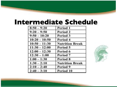 Intermediate class schedule