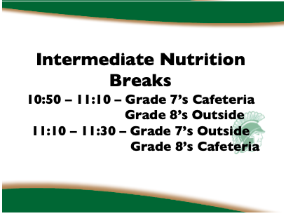 Intermediate nutrition breaks