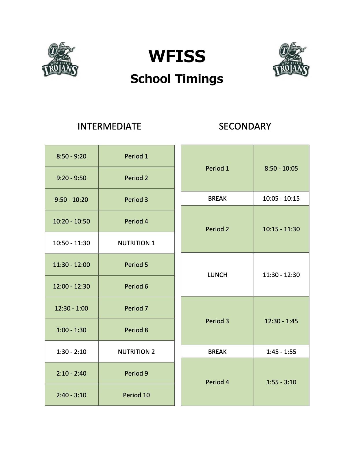 WFISS School Timings