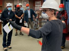 Board of Trustees tour Chippewa Secondary School during summer remodel