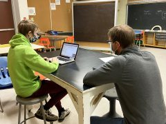 An NNDSB student and teacher engaged in a virtual coaching session with LEARNstyle to support the use of SEA technology in the classroom.