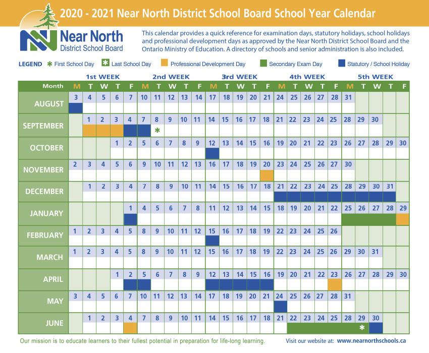 2020-21 NNDSB School Year Calendar