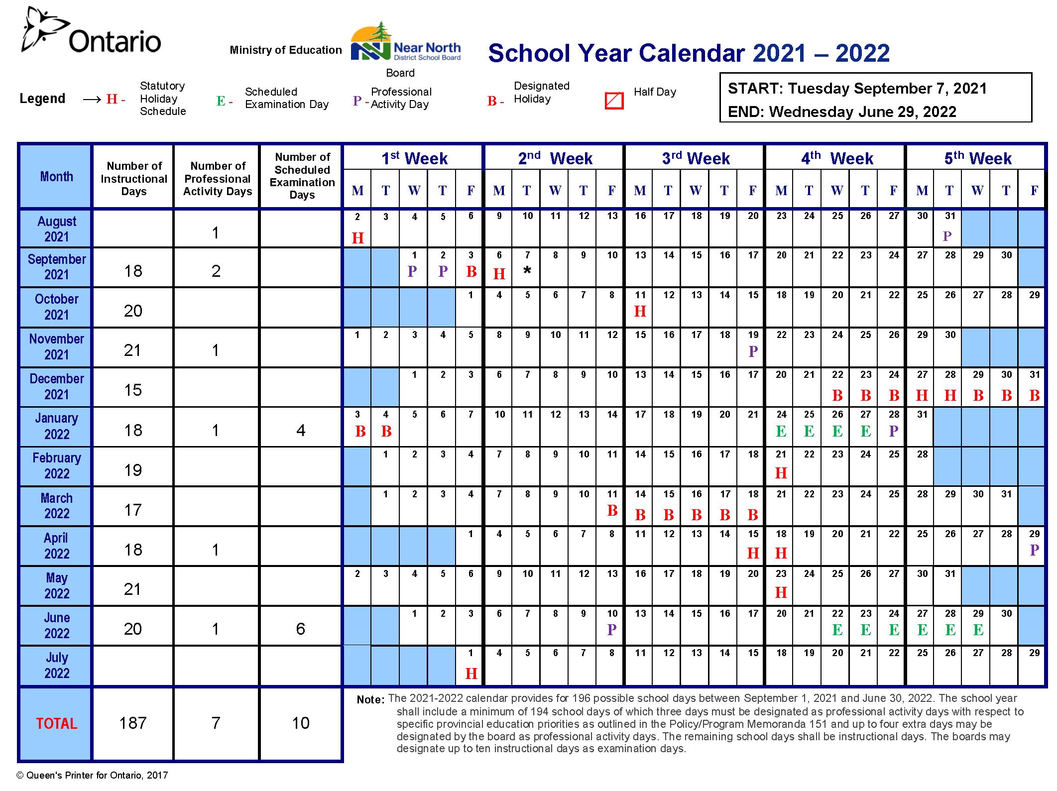 School Year Calendar for 2021-2022